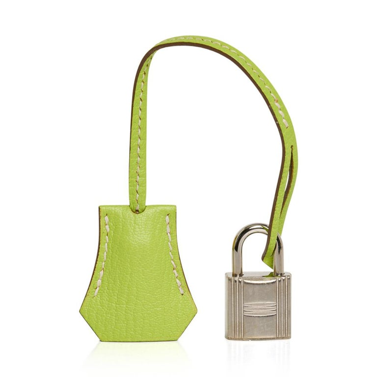 Guaranteed authentic Hermes Birkin HSS 25 bag featured in fresh Lime and Kiwi.  This special order Hermes Birkin bag is a drop of sunshine on your arm! Fresh with palladium hardware. Comes with lock, keys, clochette, sleepers, raincoat, signature