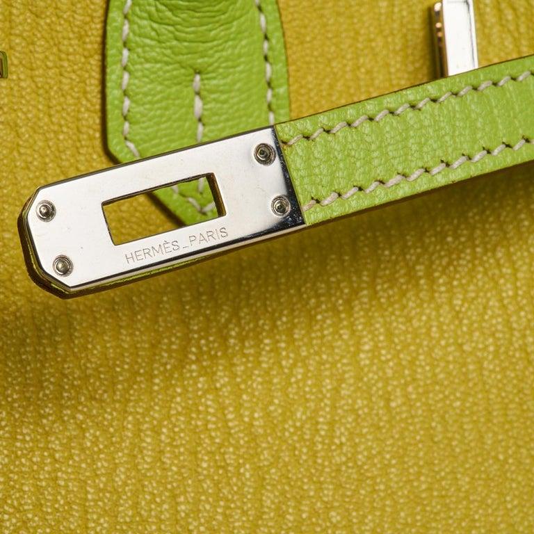 Brown Hermes Birkin HSS 25 Bag Lime / Kiwi Palladium Hardware Chevre Leather
