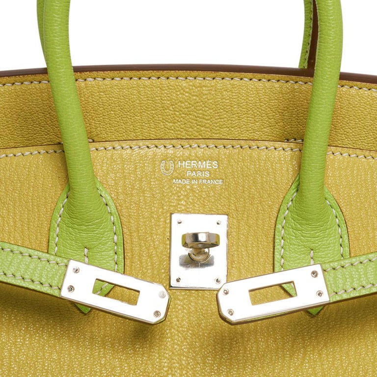 Hermes Birkin HSS 25 Bag Lime / Kiwi Palladium Hardware Chevre Leather In New Condition In Miami, FL
