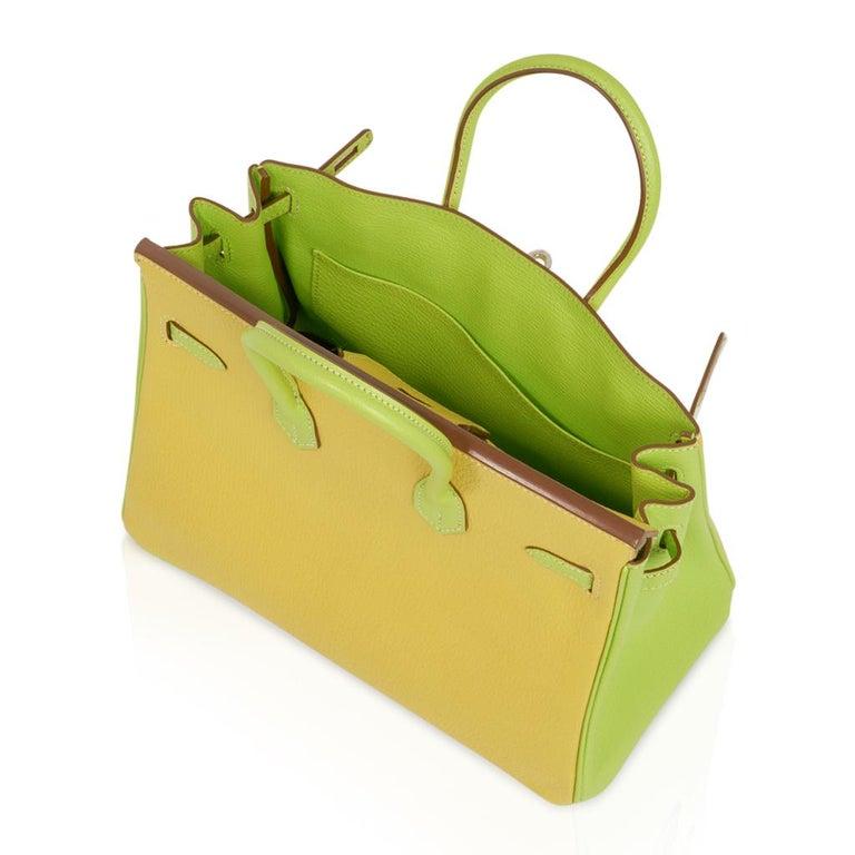 Hermes Birkin HSS 25 Bag Lime / Kiwi Palladium Hardware Chevre Leather 2