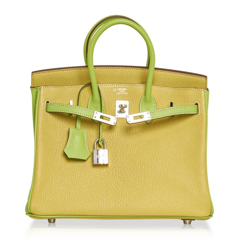 Hermes Birkin HSS 25 Bag Lime / Kiwi Palladium Hardware Chevre Leather 3