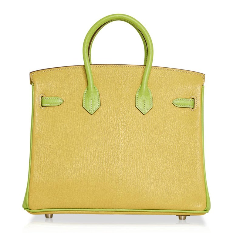 Hermes Birkin HSS 25 Bag Lime / Kiwi Palladium Hardware Chevre Leather 4