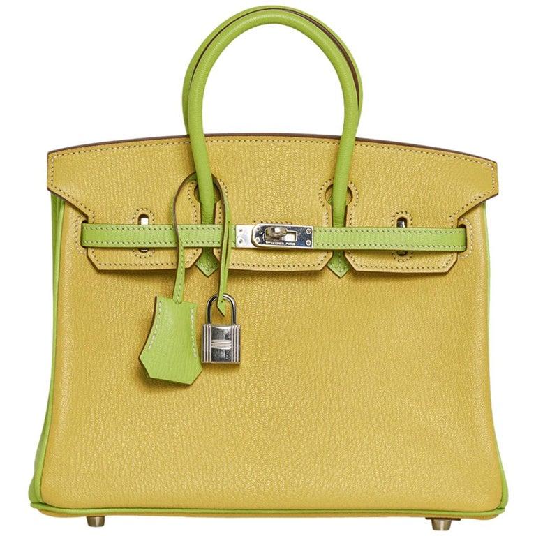 Hermes Birkin HSS 25 Bag Lime / Kiwi Palladium Hardware Chevre Leather