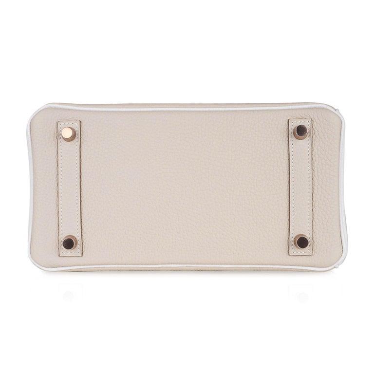 Hermes Birkin HSS 25 Craie / White Rose Gold Hardware For Sale 7
