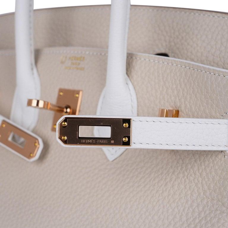Beige Hermes Birkin HSS 25 Craie / White Rose Gold Hardware For Sale