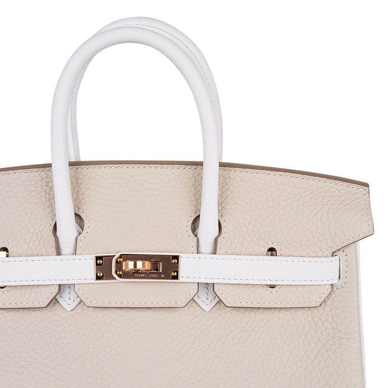 Hermes Birkin HSS 25 Craie / White Rose Gold Hardware In New Condition For Sale In Miami, FL