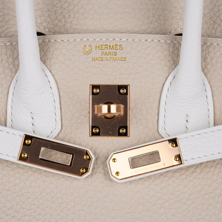 Women's Hermes Birkin HSS 25 Craie / White Rose Gold Hardware For Sale