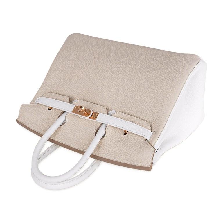Hermes Birkin HSS 25 Craie / White Rose Gold Hardware For Sale 3