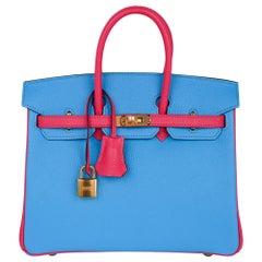 Hermes Birkin HSS 25 Rose Lipstick / Blue Celeste Gold Hardware Chevre Leather