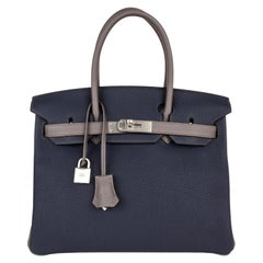 Hermes Birkin HSS 30 Bag Blue Nuit / Etain Togo Brushed Palladium