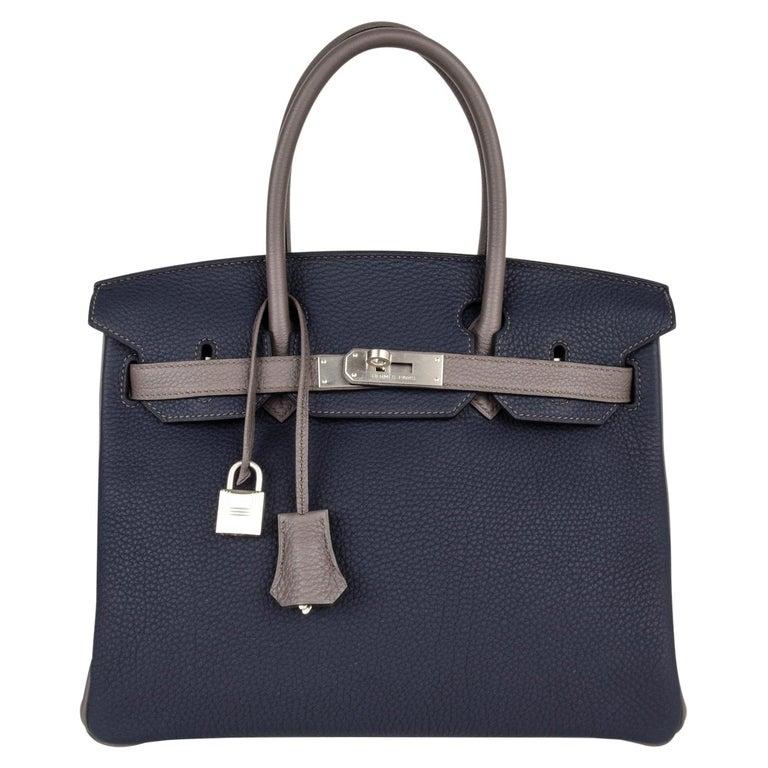 Hermes Birkin HSS 30 Bag Blue Nuit / Etain Togo Brushed Palladium  For Sale