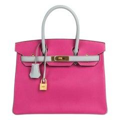 Hermes Birkin HSS 30 Bag Rose Shocking / Gris Perle Brushed Gold Hardware Chevre