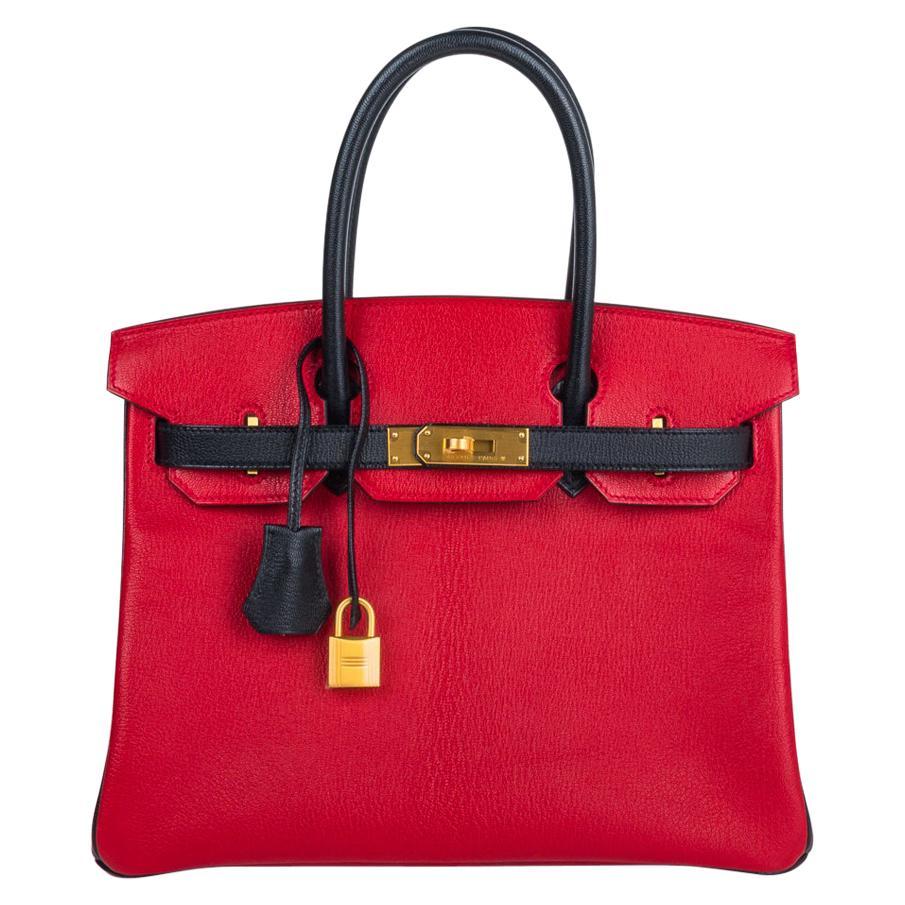 Hermes Birkin HSS 30 Bag Rouge Casaque and Black Chevre Brushed Gold Hardware