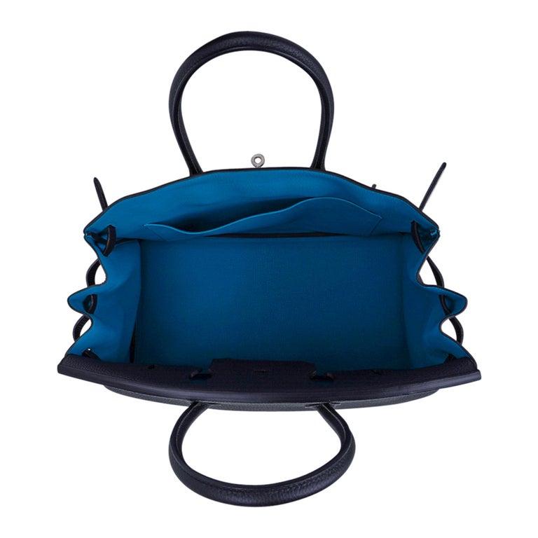 Hermes Birkin HSS 35 Bag Black / Turquoise Brushed Palladium Togo Leather For Sale 7
