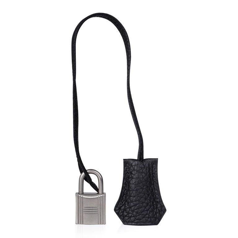 Hermes Birkin HSS 35 Bag Black / Turquoise Brushed Palladium Togo Leather For Sale 8