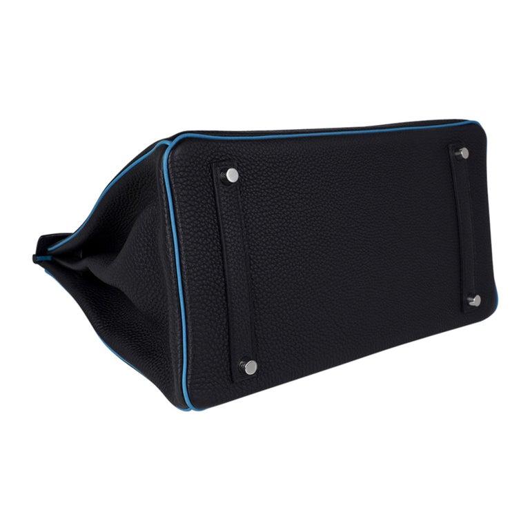 Hermes Birkin HSS 35 Bag Black / Turquoise Brushed Palladium Togo Leather For Sale 10