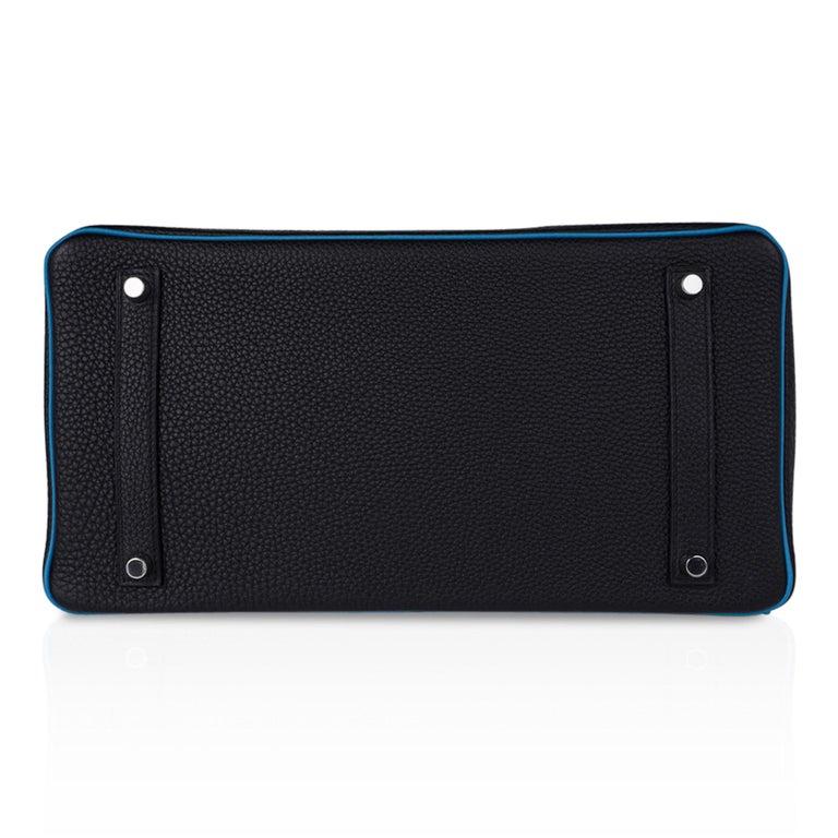 Hermes Birkin HSS 35 Bag Black / Turquoise Brushed Palladium Togo Leather For Sale 11