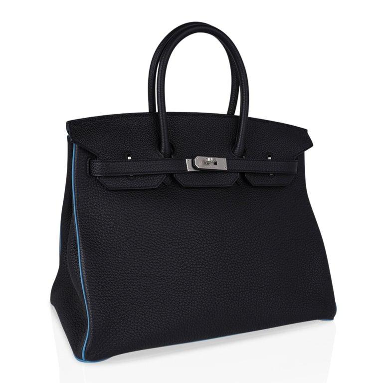 Hermes Birkin HSS 35 Bag Black / Turquoise Brushed Palladium Togo Leather For Sale 1