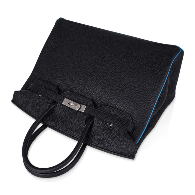 Hermes Birkin HSS 35 Bag Black / Turquoise Brushed Palladium Togo Leather For Sale 2