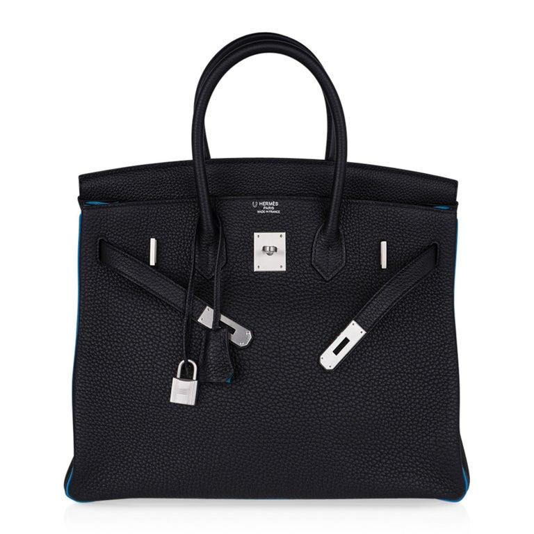 Hermes Birkin HSS 35 Bag Black / Turquoise Brushed Palladium Togo Leather For Sale 4