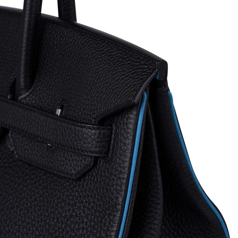 Hermes Birkin HSS 35 Bag Black / Turquoise Brushed Palladium Togo Leather For Sale 5