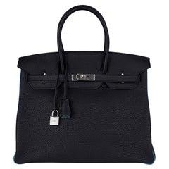 Hermes Birkin HSS 35 Bag Black / Turquoise Brushed Palladium Togo Leather