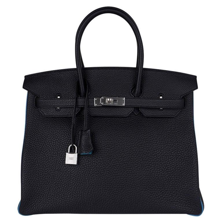 Hermes Birkin HSS 35 Bag Black / Turquoise Brushed Palladium Togo Leather For Sale