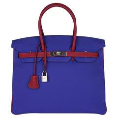 Hermes Birkin HSS 35 Bag Blue Electric Rouge Grenat Togo Leather Palladium