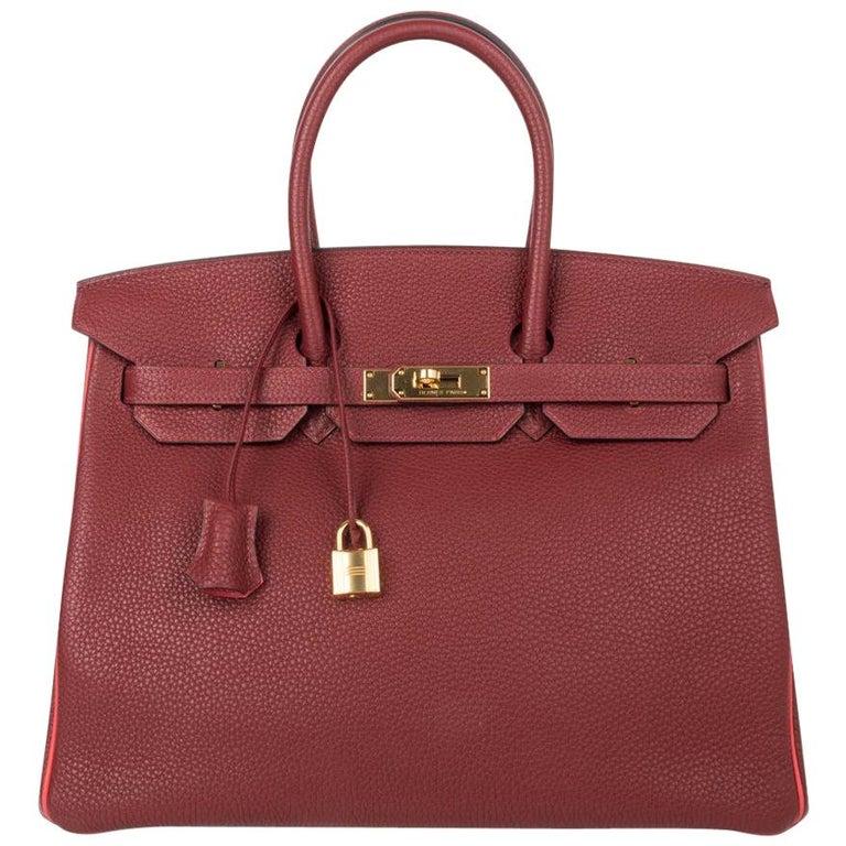 Hermes Birkin HSS 35 Bag Rouge H Bougainvillea Togo Gold Hardware For Sale