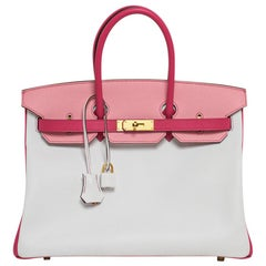 Hermes Birkin HSS 35 Bag White/Rose Confetti/Rose Tyrien Brushed Gold Hardware