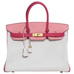 Hermes Birkin HSS 35 Bag White/Rose Confetti/Rose Tyrien Brushed Gold Hardware