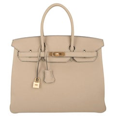 Hermes Birkin HSS 35 Bi-Color Bag Trench / Rose Jaipur Brushed Gold Hardware