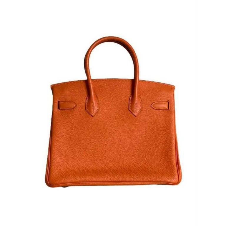 Hermès, Birkin in orange leather In Good Condition For Sale In Clichy, FR