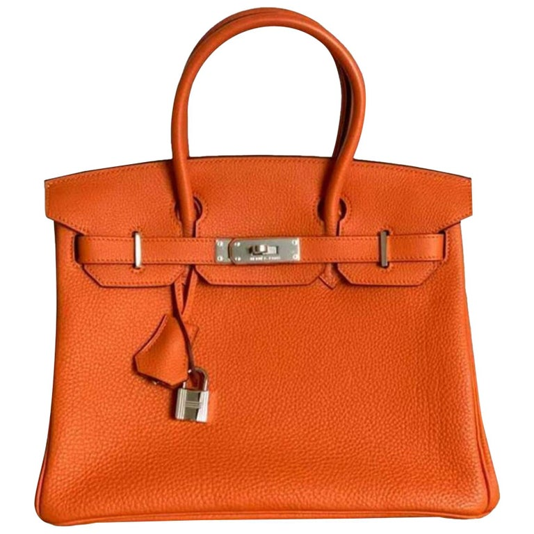 Hermès, Birkin in orange leather For Sale