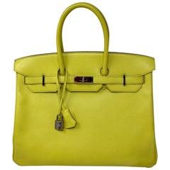 Hermes Birkin Lime Birkin 35 Bag