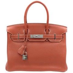Hermès Birkin Limited Edition 30 Sanguine Orange/White Leather Satchel Bag