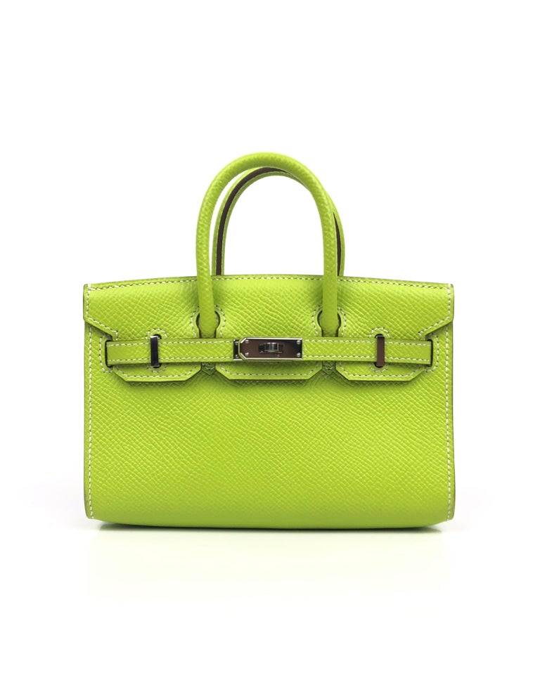 Ultra Rare Limited Edition Hermes Birkin Micro Mini Kiwi Epsom Palladium Hardware With Shoulder Strap. Excellent Pristine Condition. Light Hairlines on Hardware, Perfect corners and structure. Don't miss out on owning this rare limited edition
