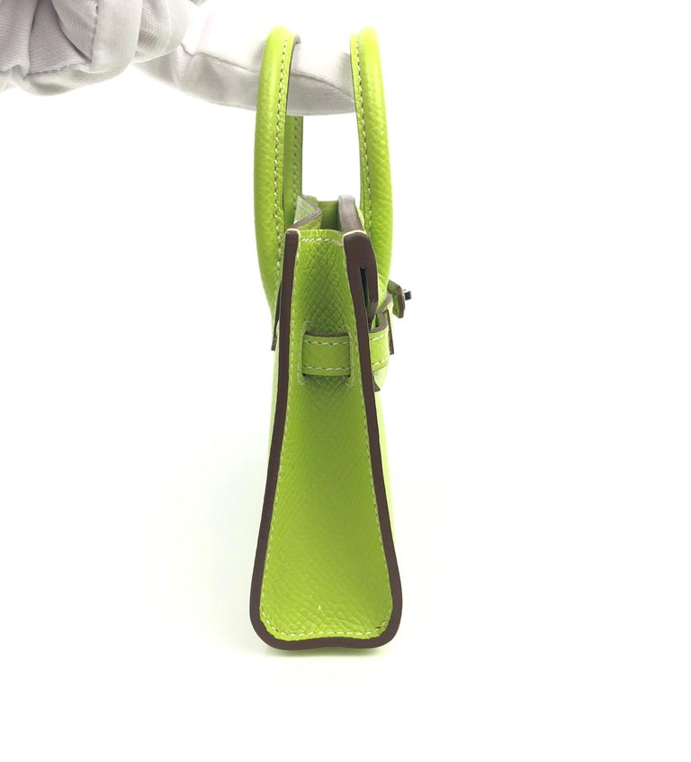 Women's or Men's Hermes Birkin Micro Mini Kiwi Epsom Palladium Hwr W/ Strap For Sale
