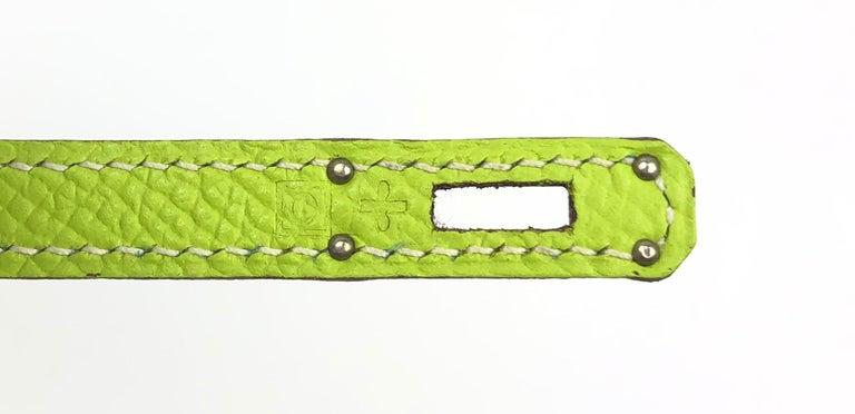 Hermes Birkin Micro Mini Kiwi Epsom Palladium Hwr W/ Strap For Sale 3