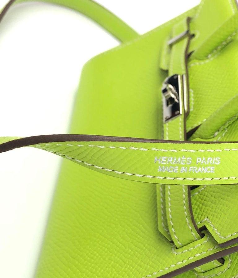 Hermes Birkin Micro Mini Kiwi Epsom Palladium Hwr W/ Strap For Sale 4