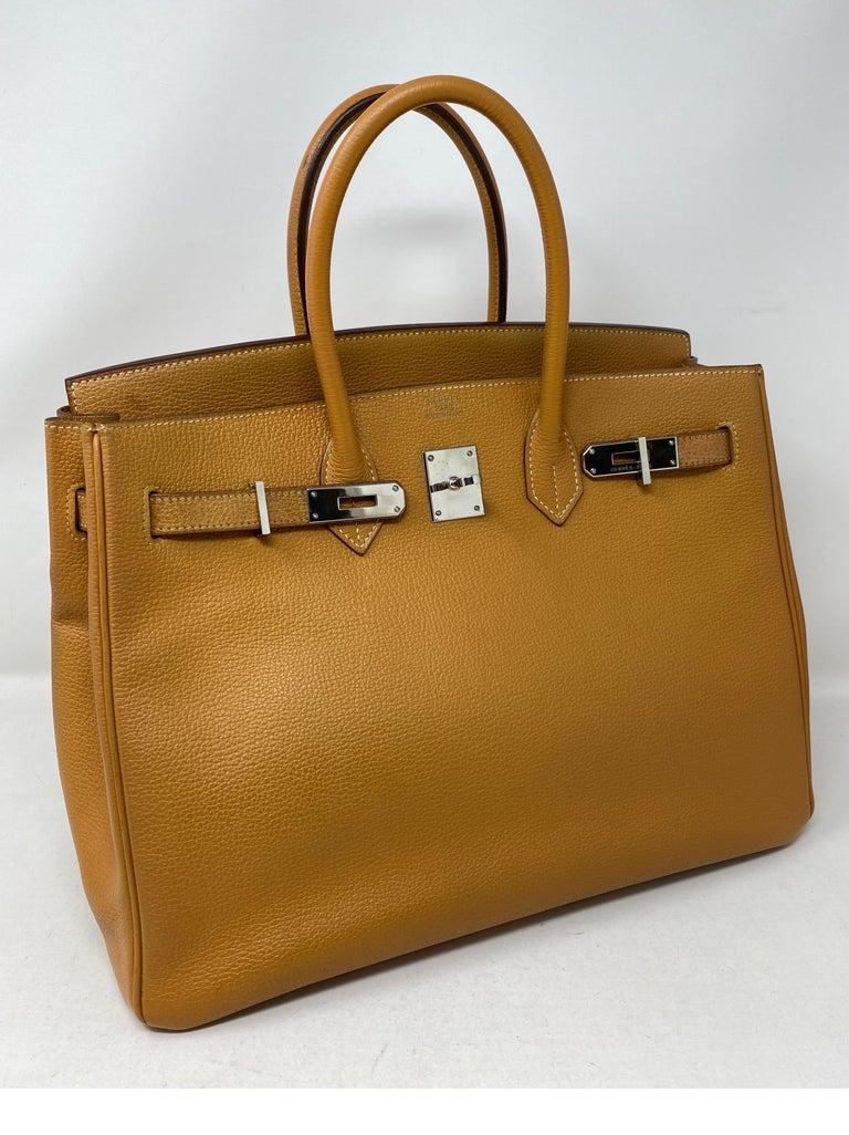 Brown Hermes Birkin Natural 35 Bag  For Sale