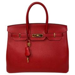 Hermes Birkin Rouge Casaque 35 Bag