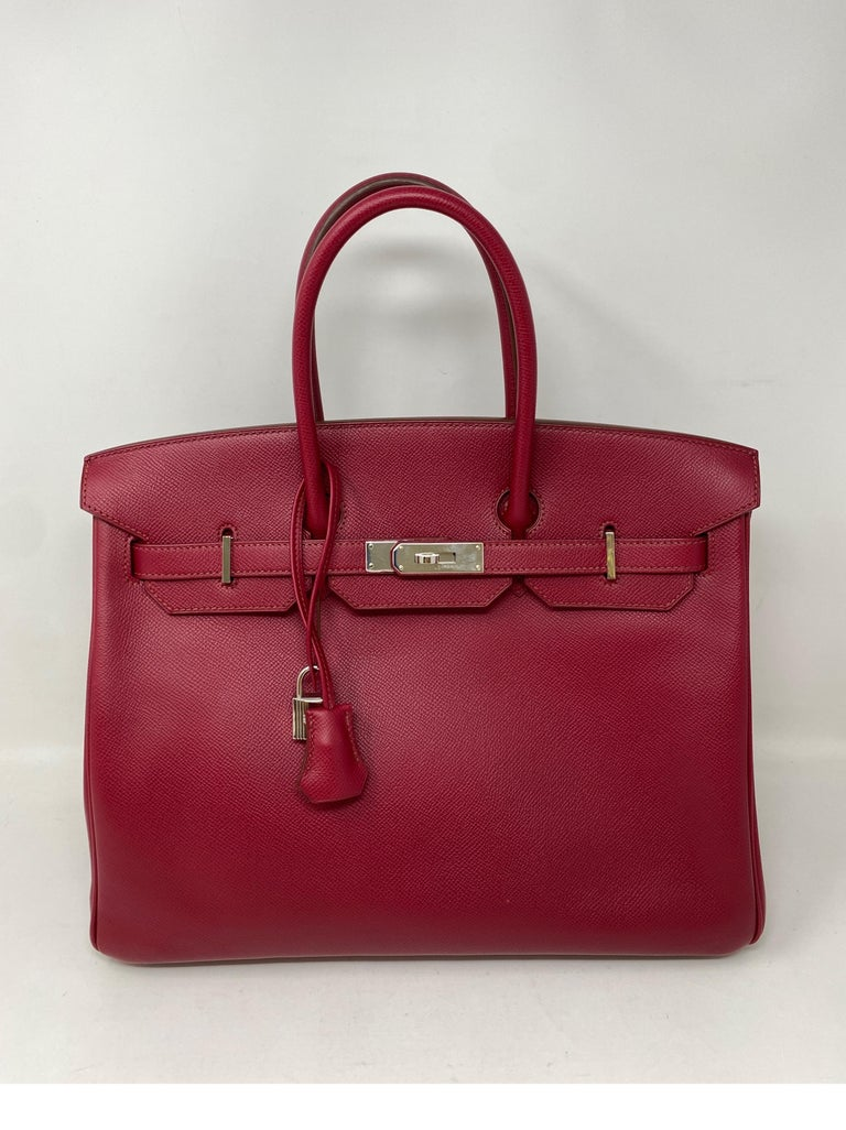 Hermes Birkin Rubis 35 Bag. Palladium hardware. Pretty cranberry red color bag. Epsom leather. Good condition. Guaranteed authentic.