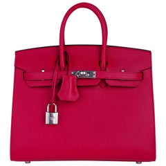 Hermes Birkin Sellier 25 Bag Framboise Epsom Palladium Hardware New