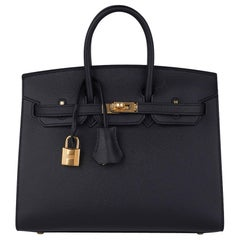Hermes Birkin Sellier 25 Black Gold Hardware Epsom Leather New w/Box