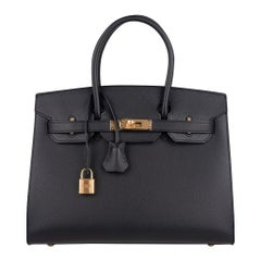 Hermes Birkin Sellier Limited Edition 30 Bag Black Veau Graine Monsieur Laiton