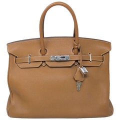 "Hermes Birkin Togo 35cm Gold SHW Handbag ""J"" in dust bag"