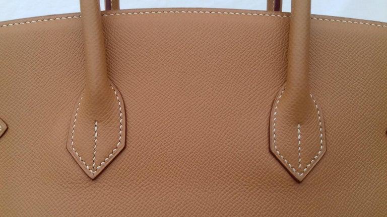 Hermès Birkin Top Handle Bag Naturel Epsom Leather Gold Hdw 35 cm For Sale 9