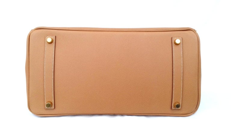 Women's Hermès Birkin Top Handle Bag Naturel Epsom Leather Gold Hdw 35 cm For Sale