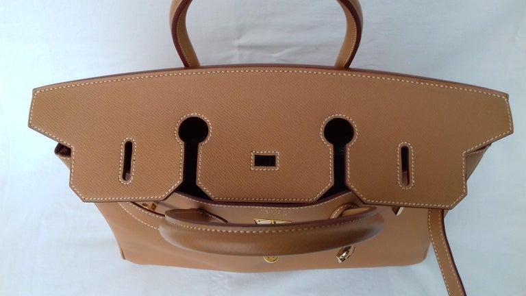 Hermès Birkin Top Handle Bag Naturel Epsom Leather Gold Hdw 35 cm For Sale 5